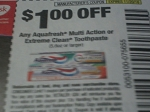 $1/1 Aquafresh Multi Action or Extreme Clean Toothpaste 5.6oz 11/20/2016