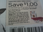 $1/4 10oz tubs or 4 3ct multipacks Purina Beneful Wet Dog Food 12/30/2016