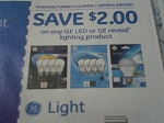 $2/1 GE LED or GE Reveal Lighting Product 3/8/2017
