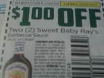 $1/2 Sweet Baby Ray's Barbecue Sauce 28oz+ 2/28/2017